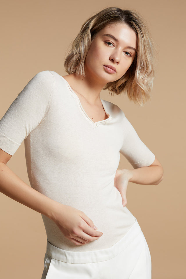 V Button-neck Top - Shell
