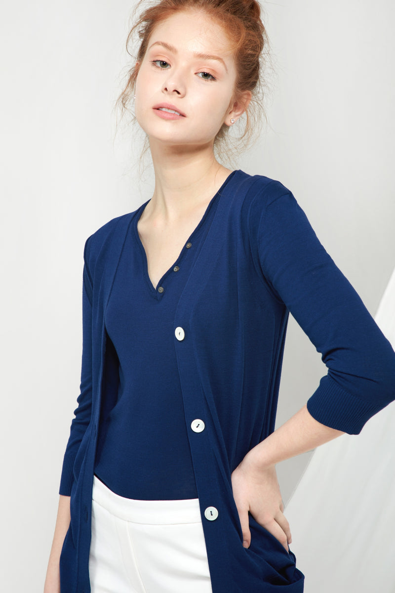 Long V-neck Cardigan - Marine