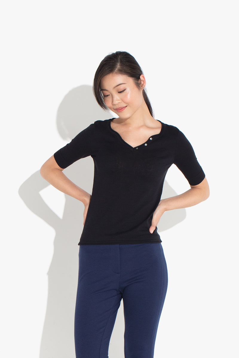 V Button-neck Top - Black