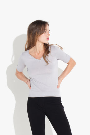 V Button-neck Top - Grey Pearl
