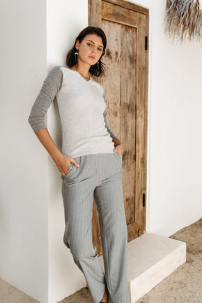 Utility Wide Pant - Grey Striped