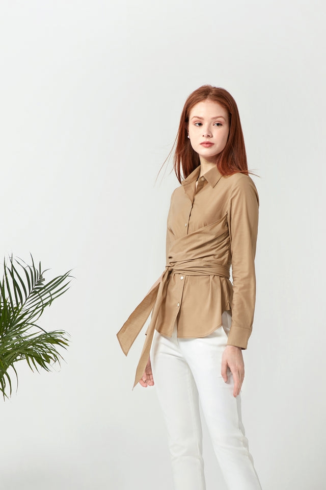 Wrapped Shirt - Camel