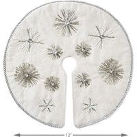 Hallmark Keepsake 2020, Miniature Ivory and Silver Snowflakes Christmas Tree Skirt, 12""