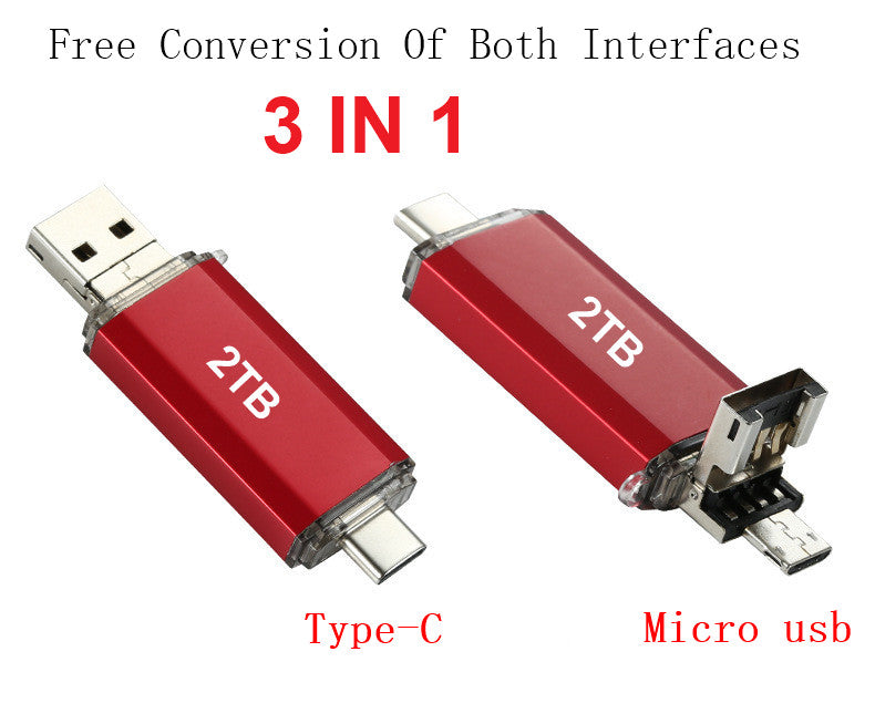 2TB 3 IN 1 USB OTG Dual Micro USB/ Type-C Flash Drive Memory Stick Waterproof