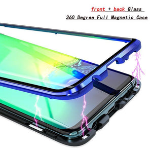 Luxury Magnetic Adsorption Shockproof Front+Back double-sided Glass Phone Case For SAMSUNG