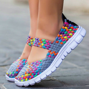 Fashion Women's Casual Running Shoes Lady's Breathable Mesh Fabric Soft Sneaker
