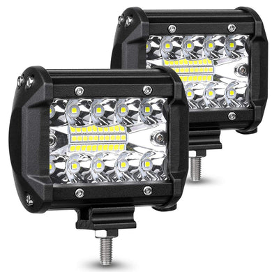 LED Pods Light Bar 4 Inch 120w 12800lm Driving Fog Off Road Lights