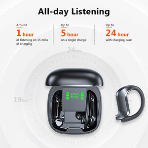 TWS Bluetooth 5.0 Earphones Wireless Bluetooth Headphone Bone Conduction 9D HiFi Stereo Sport Headsets Handsfree with Microphone
