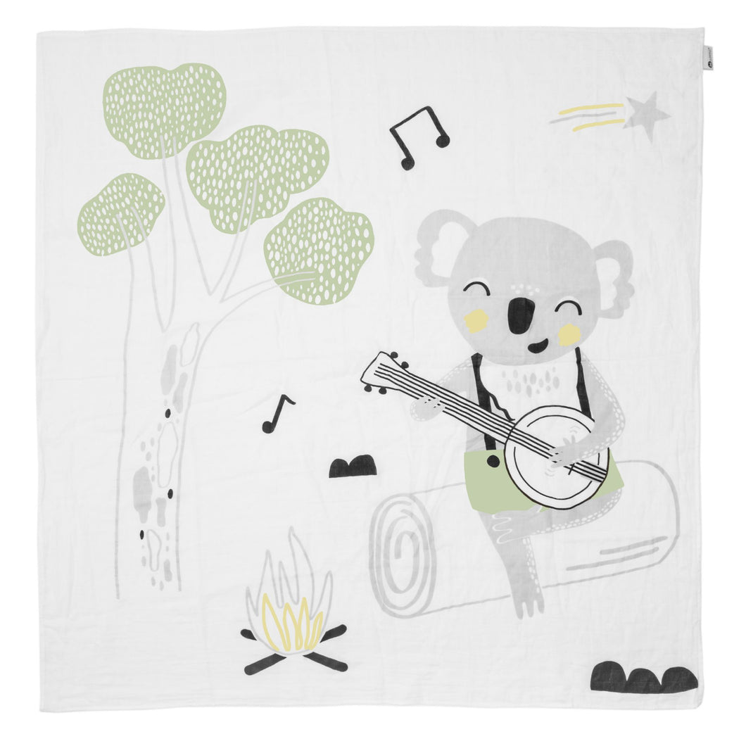 Kippins Banjo Story Print Muslin Wrap - Mumma and Mia