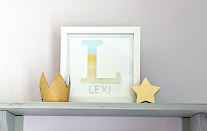 Lexi Loodle Framed Handpainted Blue Personalised Letter Print - Mumma and Mia