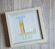 Load image into Gallery viewer, Lexi Loodle Framed Handpainted Pastal Rainbow Personalised Letter Print - Mumma and Mia