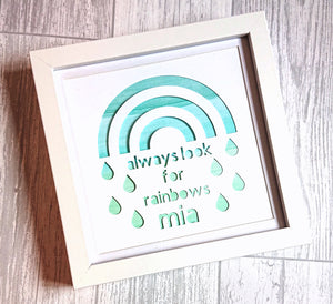 Lexi Loodle Framed Handpainted Personalise Green Always Look For Rainbows Print - Mumma and Mia