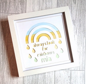 Lexi Loodle Framed Handpainted Personalise Pastel Always Look For Rainbows Print - Mumma and Mia
