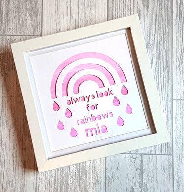 Lexi Loodle Framed Handpainted Personalise Pink Always Look For Rainbows Print - Mumma and Mia