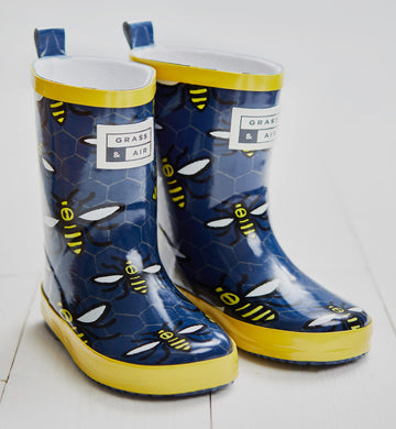 Grass & Air Navy Bumble Bee Wellies - Mumma and Mia