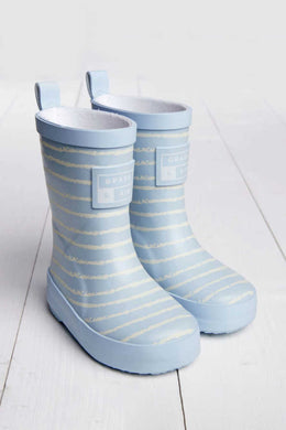 Mumma and Mia Grass and Air Fleece Lined Kids Wellies in Baby Blue Breton Stripe