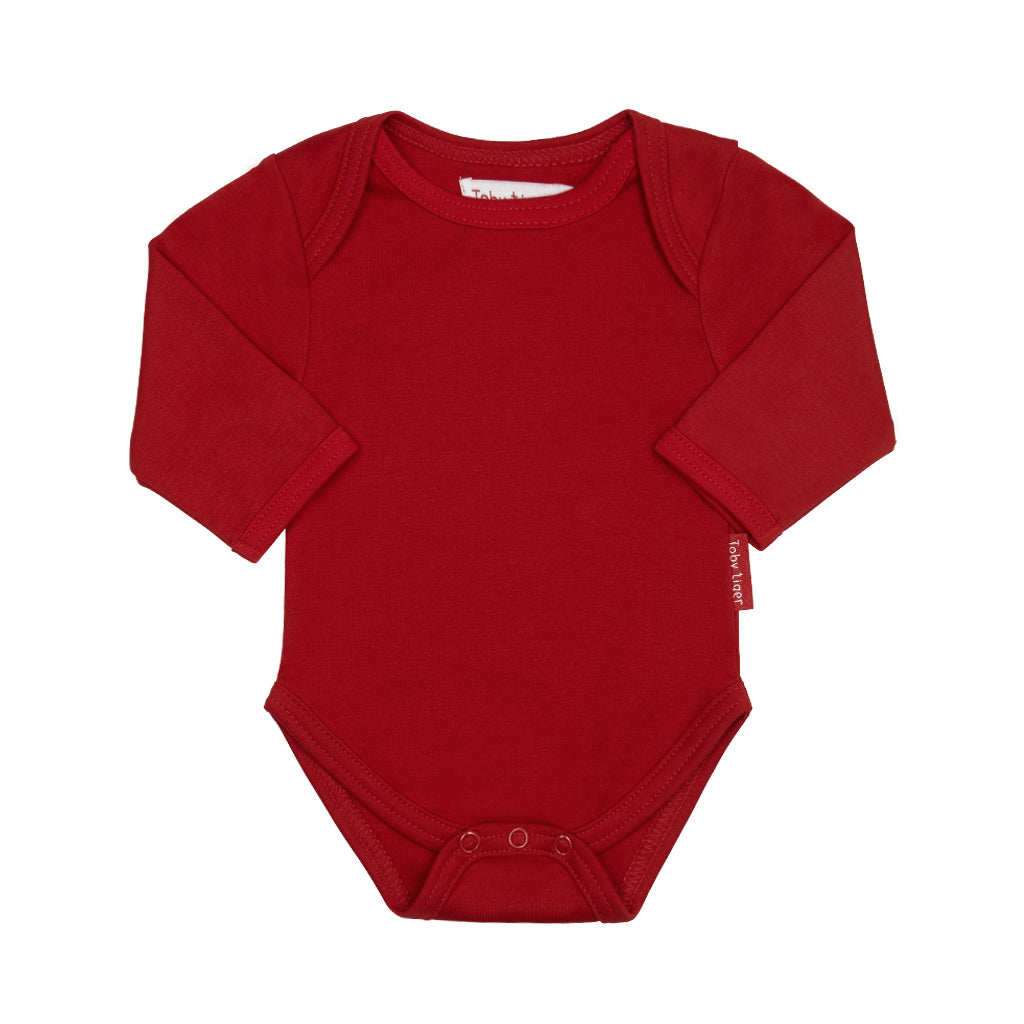 Toby Tiger Plain Red Bodysuit - Mumma and Mia