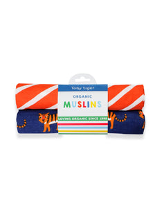 Mumma and Mia | Toby Tiger Organic Cotton Muslin Cloth Twin Pack Tiger and Orange Strip Print