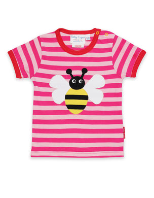 Mumma and Mia Kids 100% Organic Cotton Bright Pink Bumble Bee Short Sleeved T Shirt