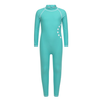 Noma Swimwear Turquoise & White Long Sleeved All-In-One Swimsuit - Mumma and Mia