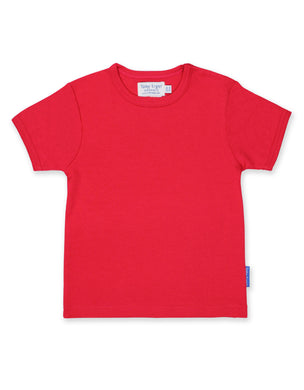 Toby Tiger Plain Red Short Sleeved T-Shirt - Mumma and Mia