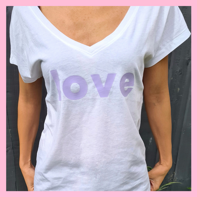Super Mumma Mindful Mumma Organic Cotton Lilac Love Affirmation White Relax Fit Tshirt