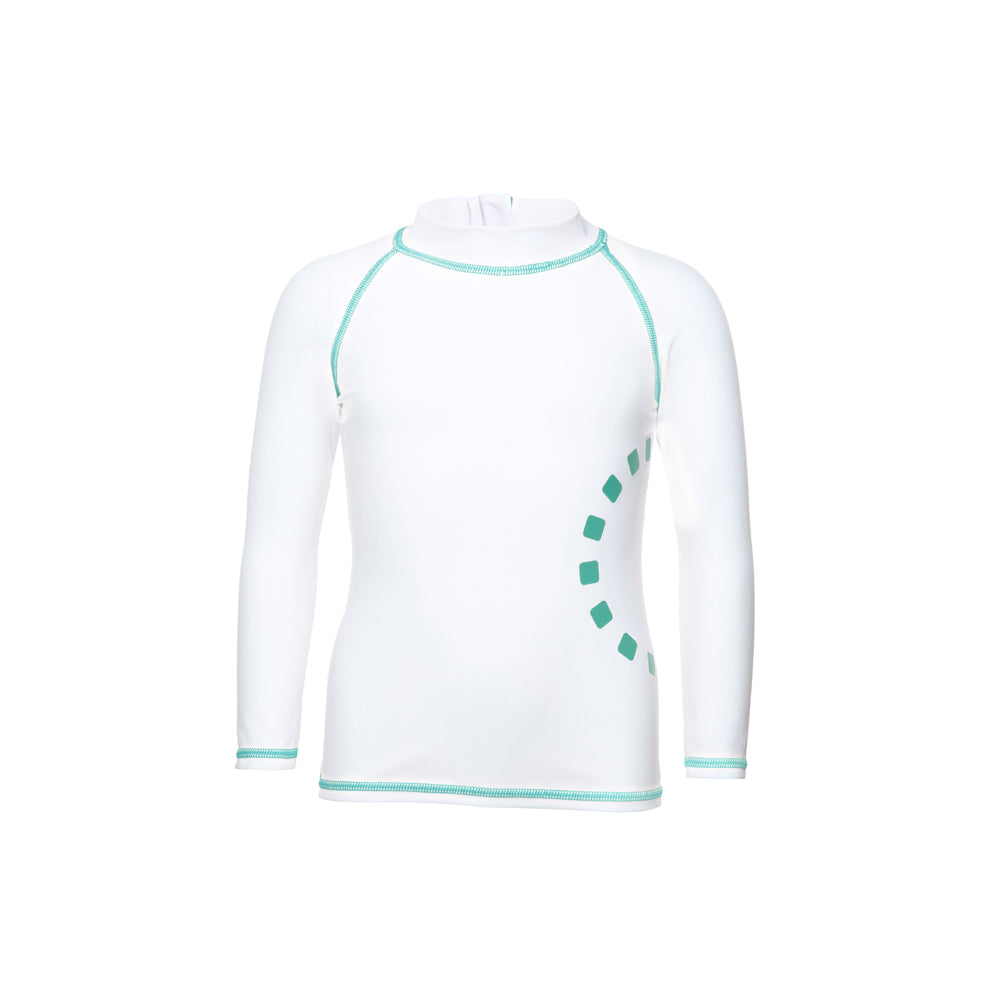 Noma Swimwear White & Turquoise Long Sleeved Rash Top - Mumma and Mia