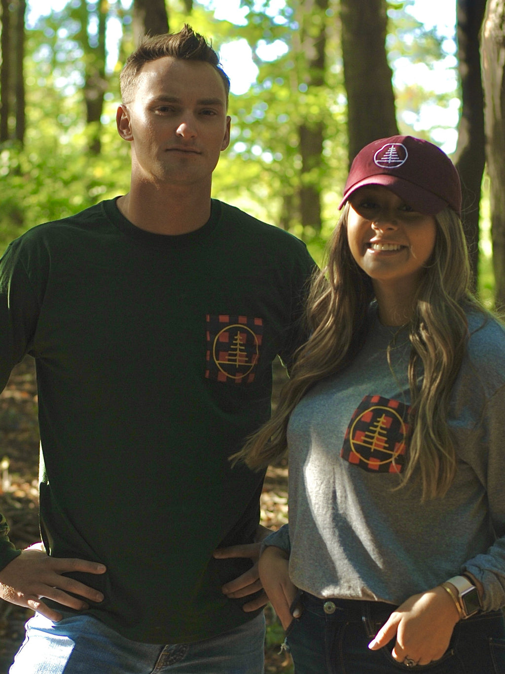 Forest Green Long Sleeve Logo Pocket Tee