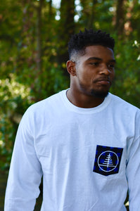 White Jack Flannel Blue Pocket Tee