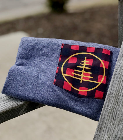 Heather Grey Jack Flannel Red Pocket Tee