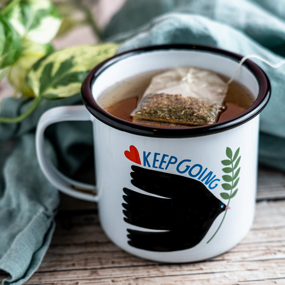 Enamelware Keep Going Mug