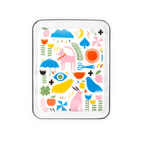 Enamelware Tray Pink Dog Design