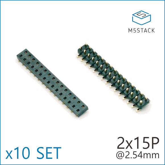 2x15 Pin Headers Socket 2.54mm Male & Female 4 Pair Connector - m5stack-store
