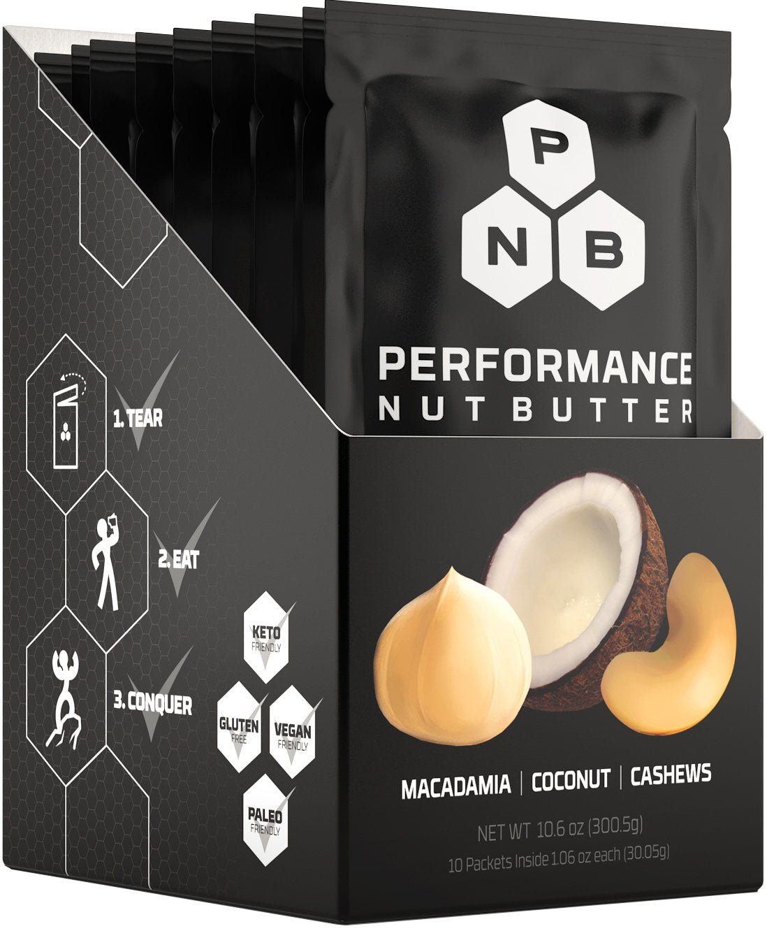 Performance Nut Butter: Macadamia, Coconut & Cashew Blend (Box of 10 Packets)