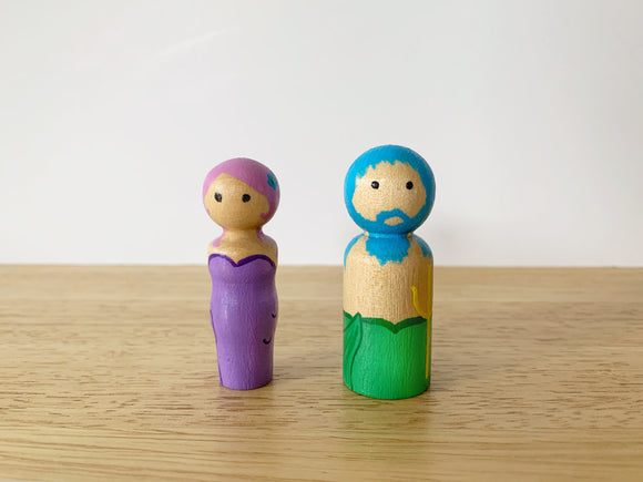 Mermaid/Merman Peg Doll Set