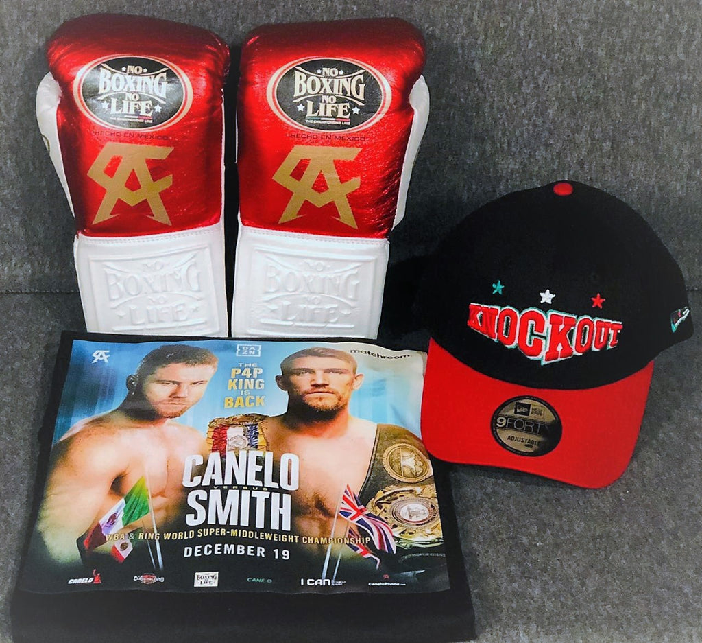 "PAQUETE  ""FIGHT EDITION""  GUANTE DE BOX 08 OZ CHAMPION CANELO (RED/WHITE)  T-SHIRT CANELO-SMITH AND CAP (RED/BLACK)"