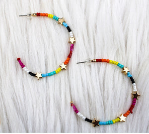 Star Bead Hoops