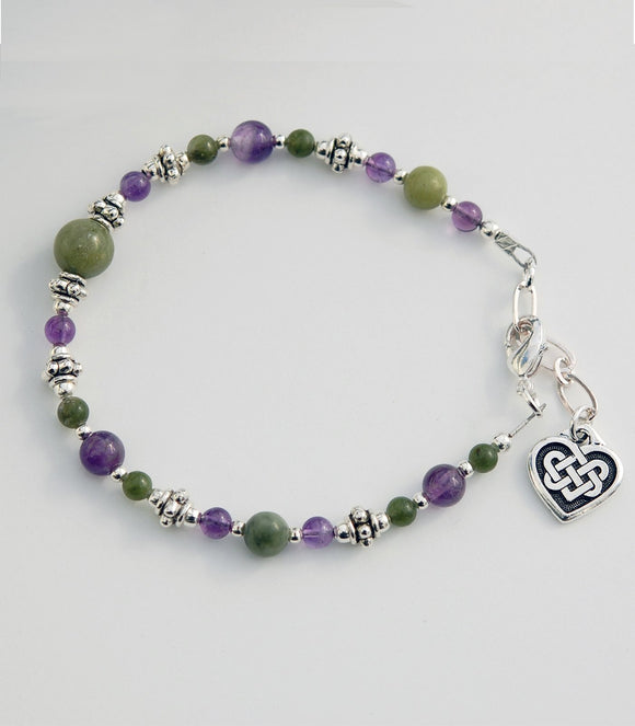AM-CONN-121-HRT Amethyst and Connemara Marble Bracelet with Celtic Heart Knot.