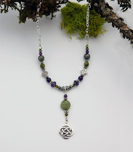 AM/CONN-602 Amethyst and Connemara Marble Necklace with Celtic Knot