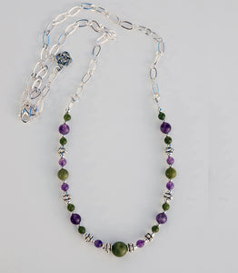 AM/CONN-606 Amethyst and Connemara Marble Necklace
