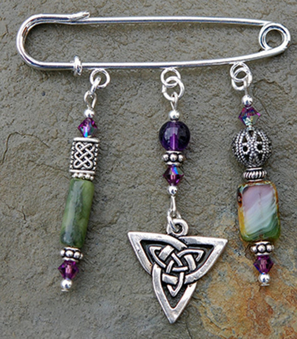 AP-21 Amethyst and Moss Jade Celtic Knot Pin