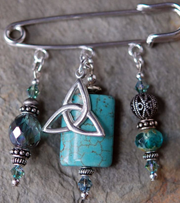 Turquoise with Celtic Trinity Knot Pin