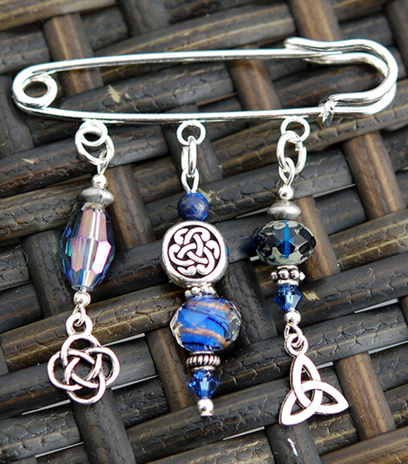 Lapis Lazuli with Celtic Knots Pin