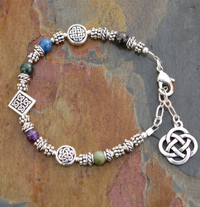 Sacred Numbers Celtic Bracelet with Adjustable Chain Clasp