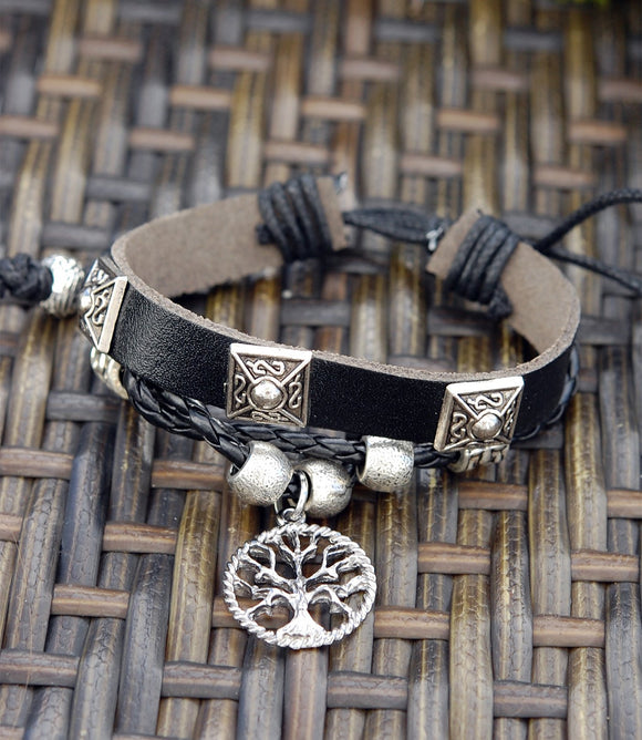 Black Leather Bracelet with Open Tree of Life
