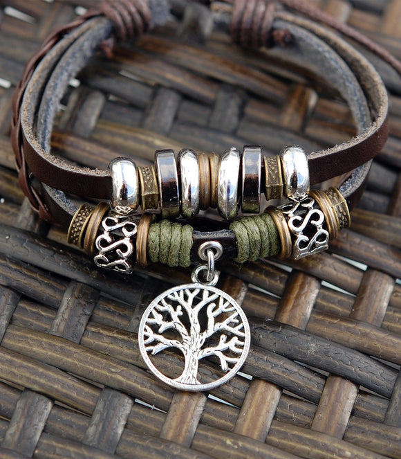 Expresso Leather Bracelet with Celtic Tree of Life.