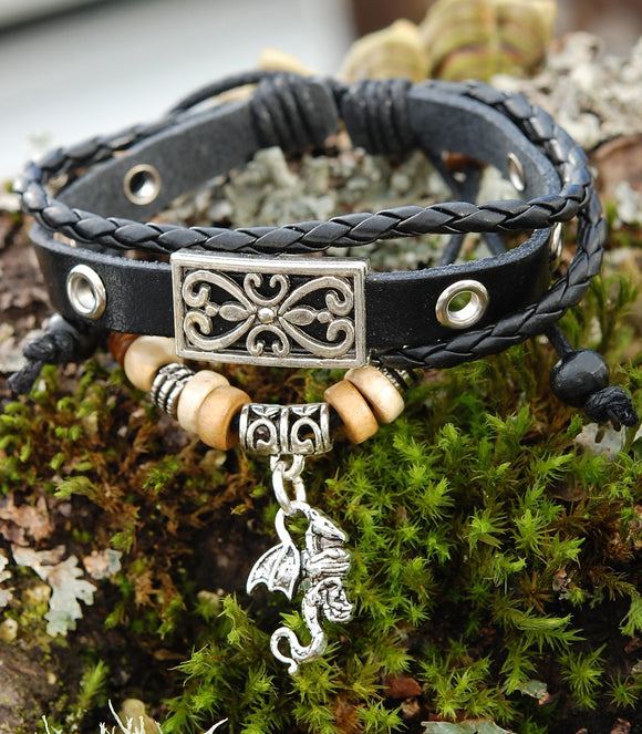 Black Leather Bracelet with Celtic Dragon