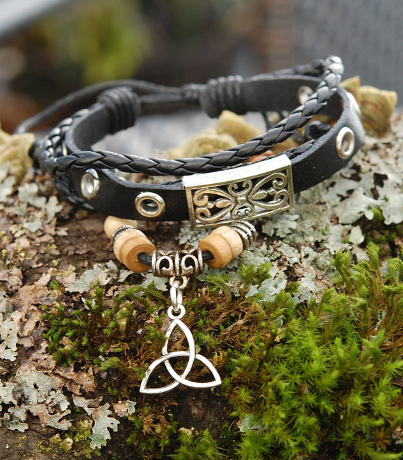 Black Leather Bracelet with Celtic Trinity Knot