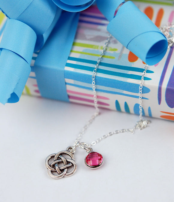 Birthstone Crystal and Celtic Knot Pendant