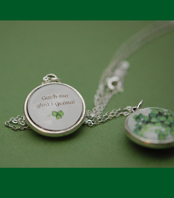 Shamrocks Double-sided Pendant with Message